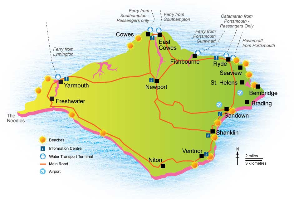 Isle Of Wight Tourist Attractions Wight Coast Holidays - Map of iow